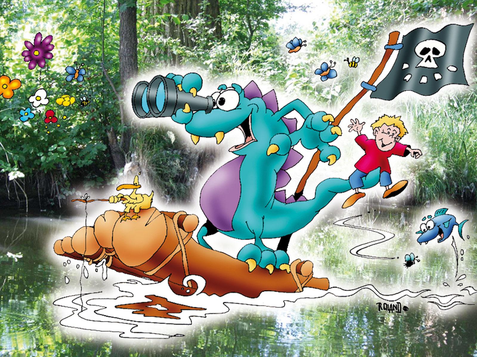 Das Schmutterding und Julius auf Floßfahrt. Illustration: Roland Prillwitz von Prillwitz & Fischer