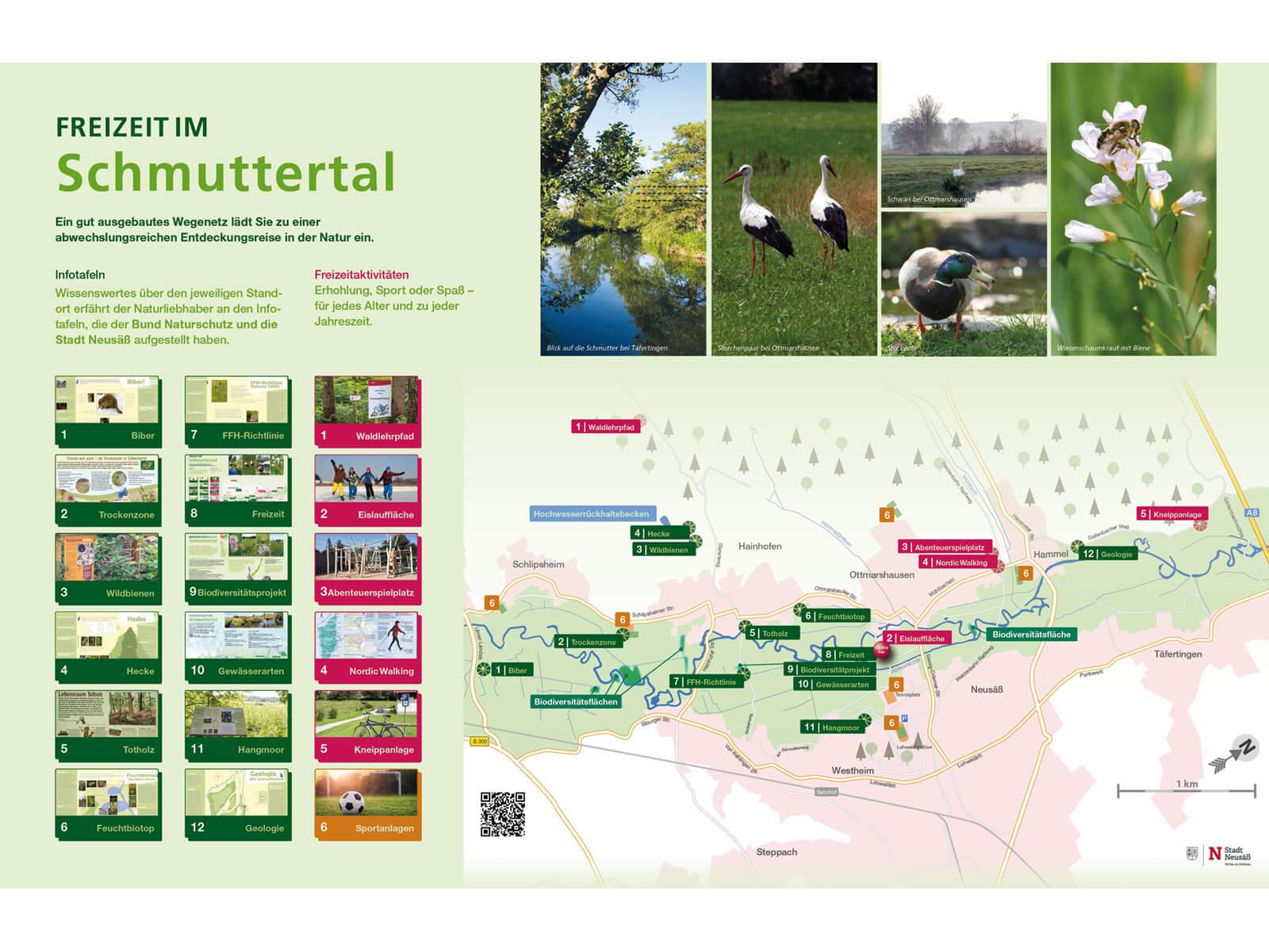 Tafel Freizeit im Schmuttertal mit Standorten aller Infotafeln. Tafelgestaltung: Sigrid Christl