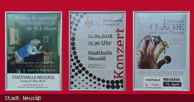 Plakatwand Kartenvorverkauf Stadthalle Neusäß