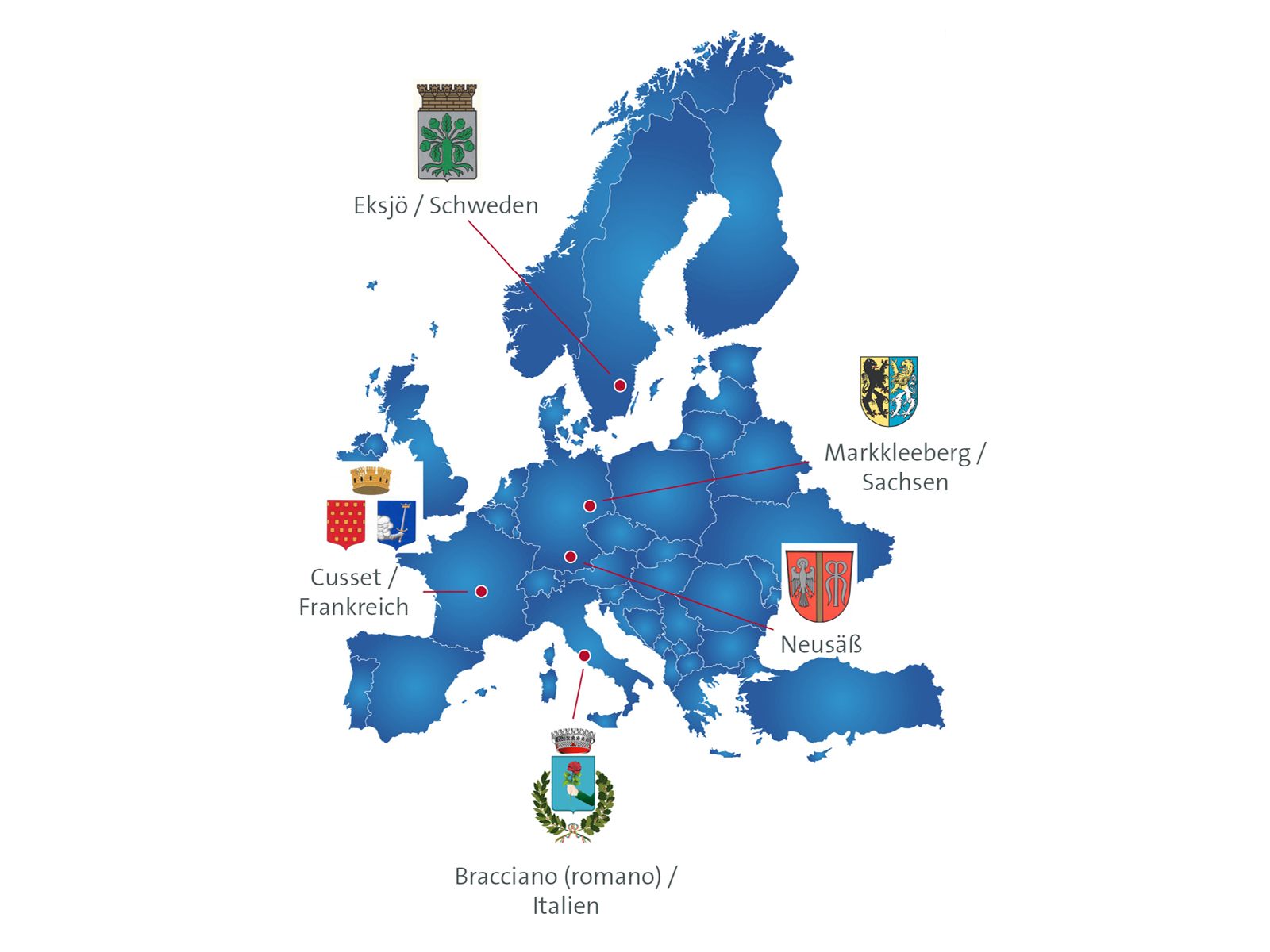 Lage der Partnerstädte in Europa. Europakarte: fotolia.com, white