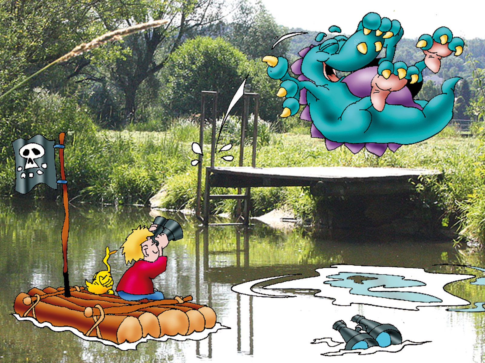 Das Schmutterding springt ins Wasser während Julius auf dem Floß sitzt. Illustration: Roland Prillwitz von Prillwitz & Fischer
