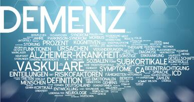 Stichpunkte zum Thema Demenz auf blauem Grund. Foto: fotolia.com, XtravaganT