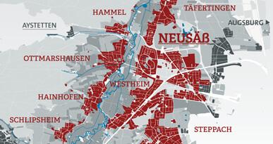 Plan Stadtgebiet Neusäß.