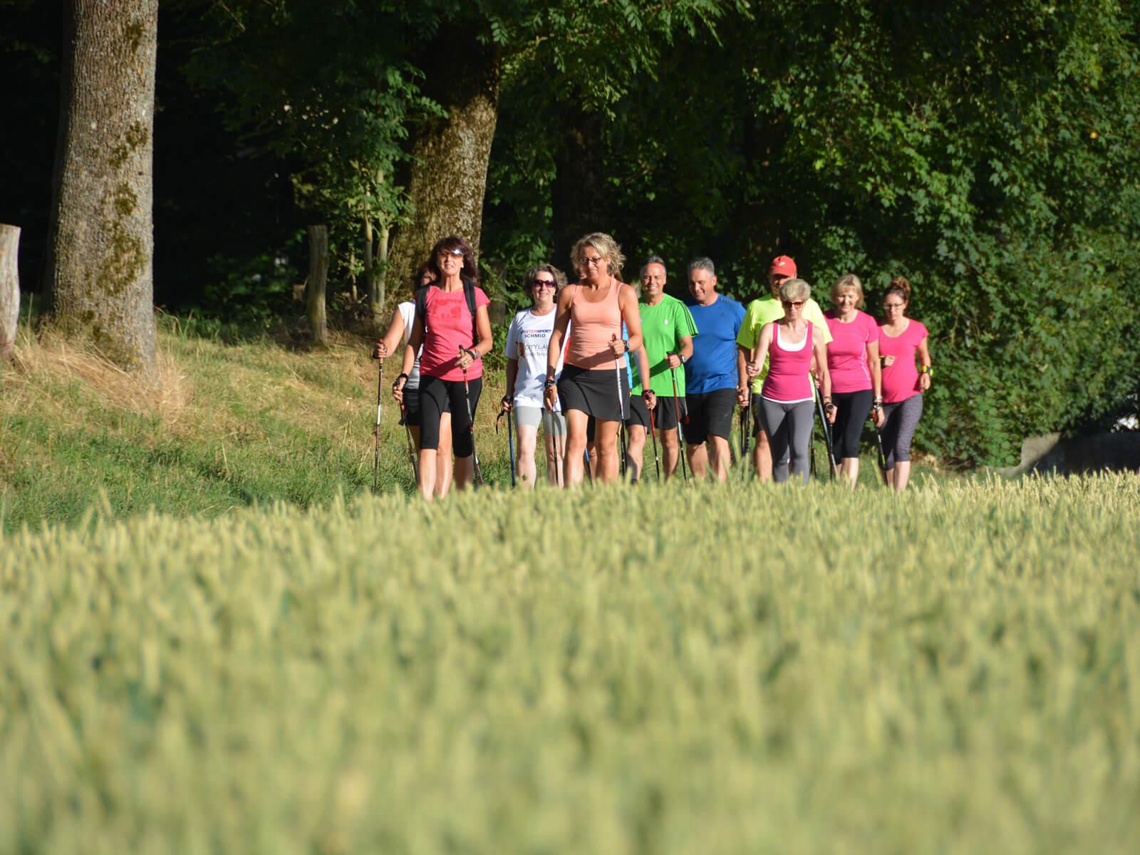 Eine Nordic Walking-Gruppe ist unterwegs bei Hammel. Foto: Kerstin Weidner