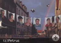 Porträt der sechs Künstler.