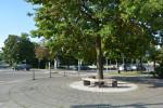Neugestaltete Gehwegfläche am Schmutterpark