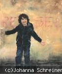 Kind in Jeans und schwarzer Jacke vor einer Mauer