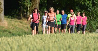 Voller Stockeinsatz: Nordic Walking-Gruppe bei Hammel. Foto: Kerstin Weidner