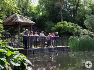 Besucher des Schmutterparks blicken vom Pavillon auf den Teich. Foto: Ulrike Klumpp