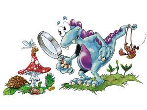 Das Schmutterding untersucht die Natur. Illustration Roland Prillwitz von Prillwitz & Fischer