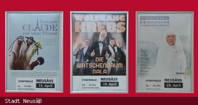Plakatwand Kartenvorverkauf Stadthalle Neusäß. Foto: Stadt Neusäß