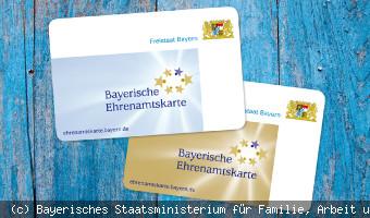 Bayerische Ehrenamtskarte in blau und gold