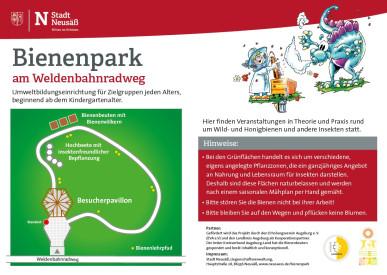 Schild Bienenpark mit Lageplan.
